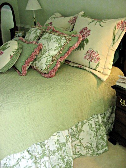 Custom designer fabric bedding treatment from Posh Surfside