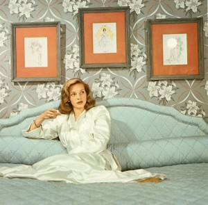 Pattern and color for a dramatic bedroom, 1945
