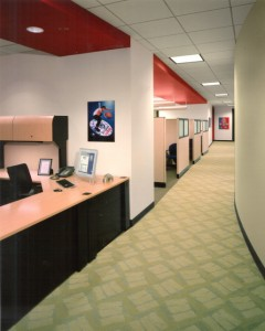 Corporate Offices, Atlanta; completed project showing color scheme and custom carpet