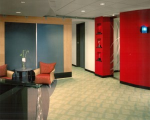 Reception Area Seating with Custom Carpet, Custom Glass Installation