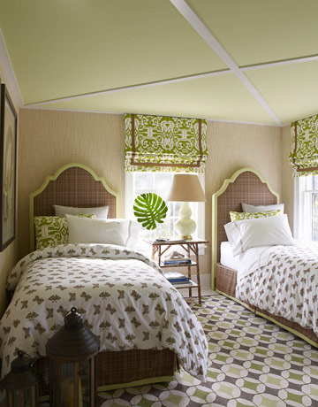 Ikat Fabric from China Seas jazzes up a bedroom by  , courtesy of House Beautiful.