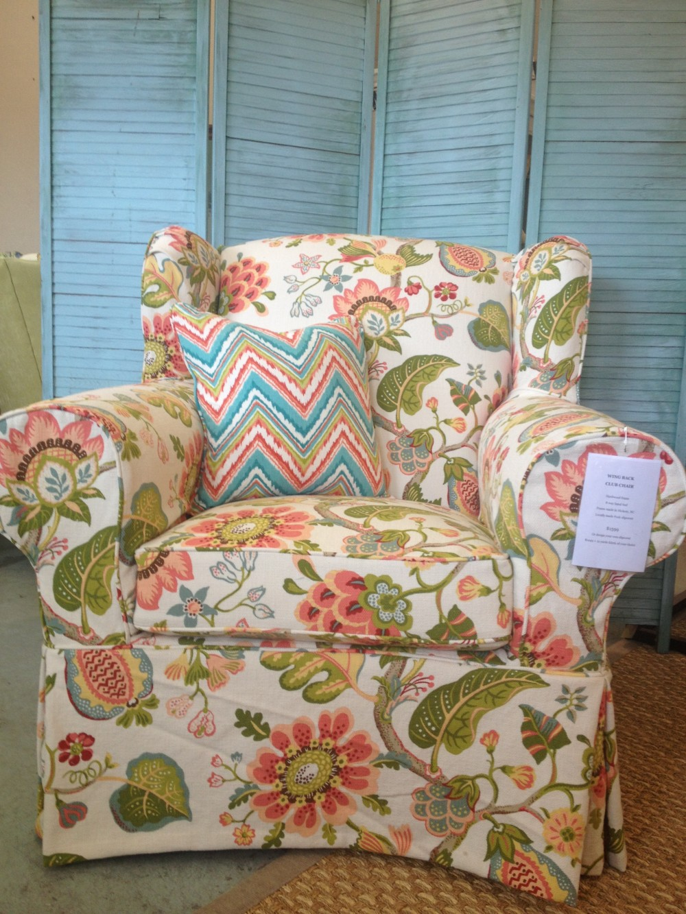 Slipcovered Beach House Oversized Wing Chair
