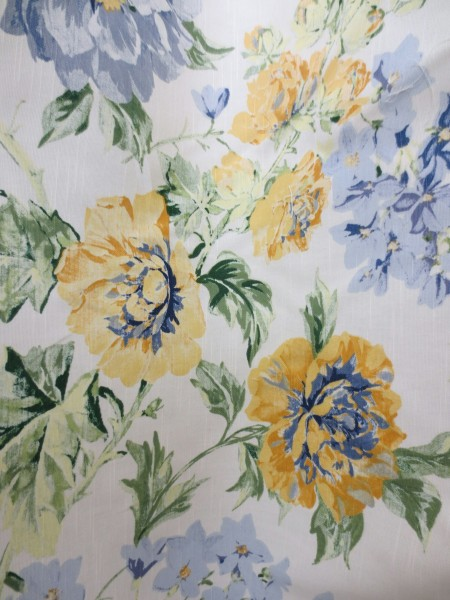 Post image for Wylene Floral Print Fabric Blue and Yellow – Sale