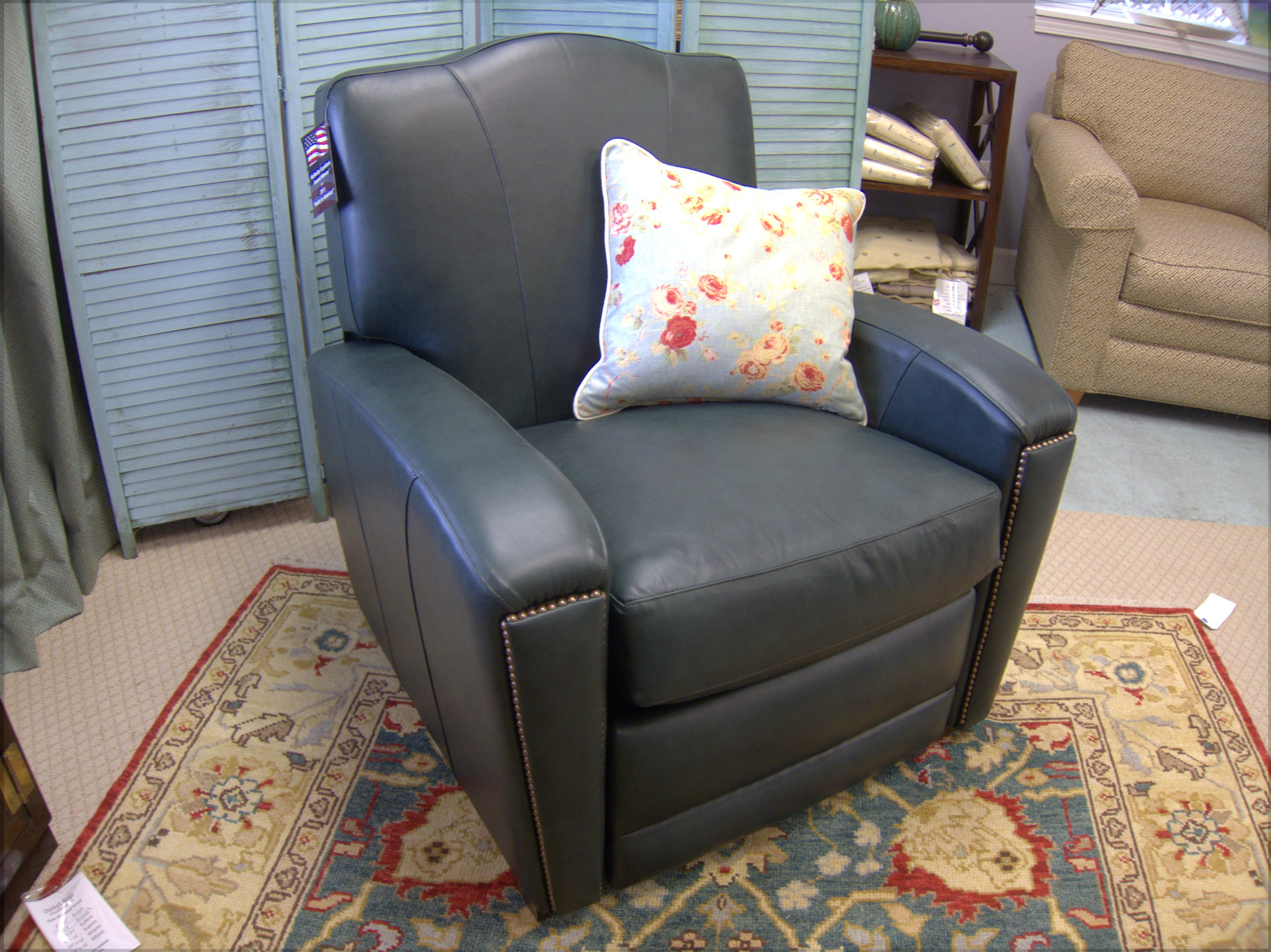 2760 In Gorgeous French Deco Green Leather Recliner Club Chair